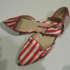 New Striped Satin Flats Size 8